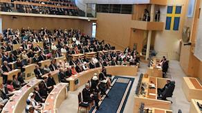 Bild från plenisalen i riksdagen vid riksmötets öppnande 2017.