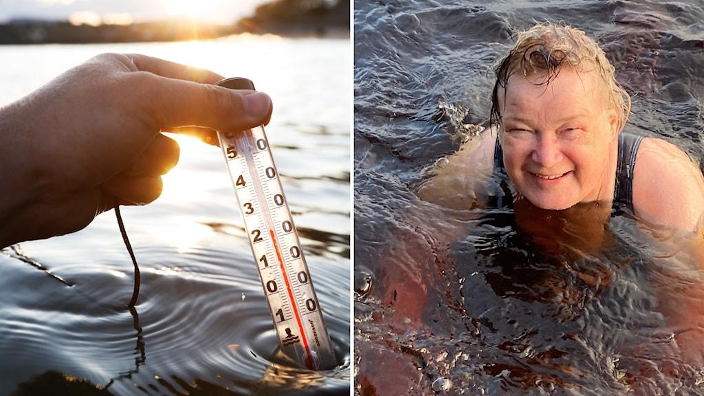 Hymyilevä nainen uimassa katsoo kameraan.