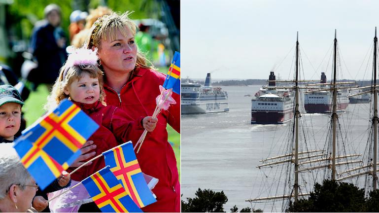 Folk håller i Ålands flagga. Ålands hamn.