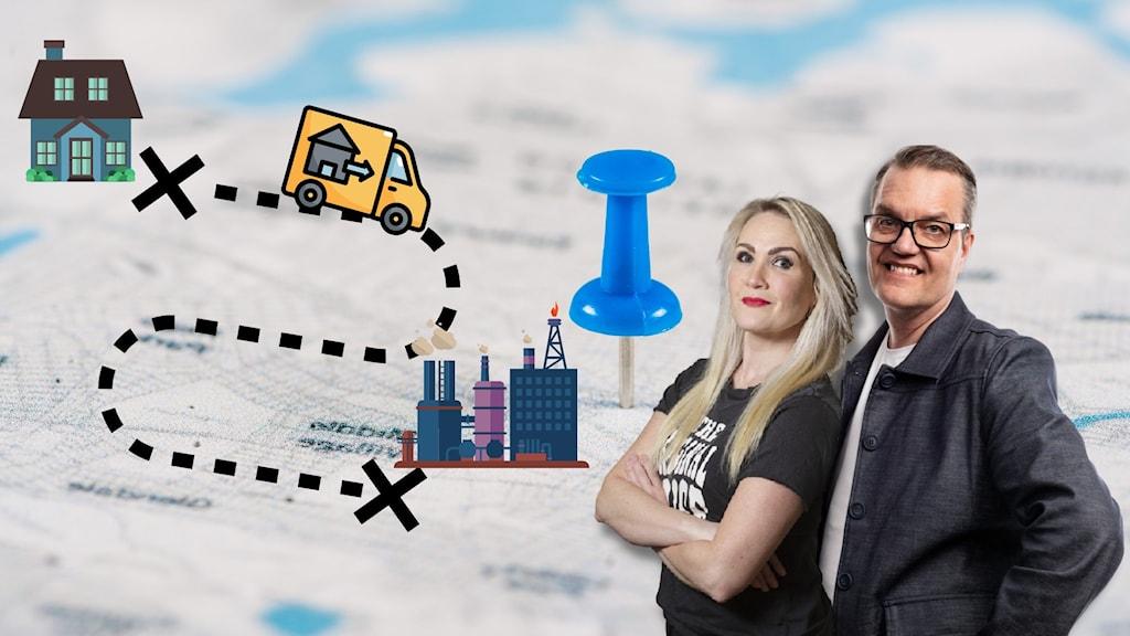 Programledarna står framför en karta, där en flyttbil kör mellan ett hem och en fabrik.