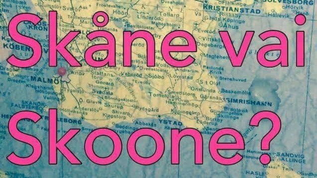 Kartta ja kysymys Skåne vai Skoone?