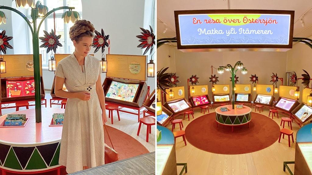 Kulttuuriministeri katsoo lastenkirjanäyttelyä, jossa lastenkitjoja on näytillä ringissä ja pieniä tuoleja aseteltu jokaisen kirjan eteen.