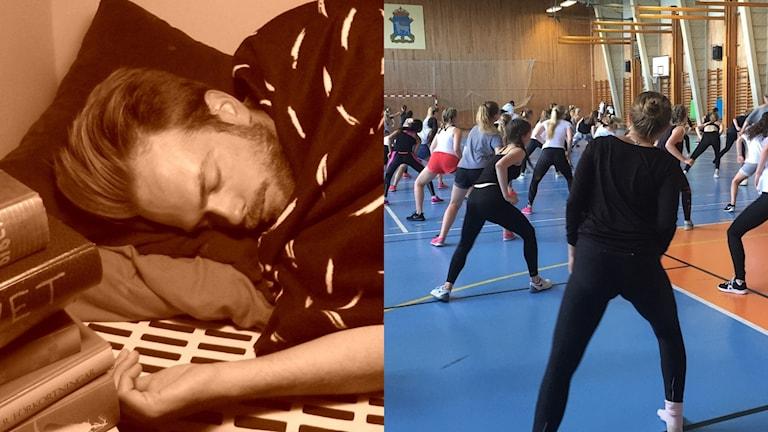 En man sover och en grupp motionerar