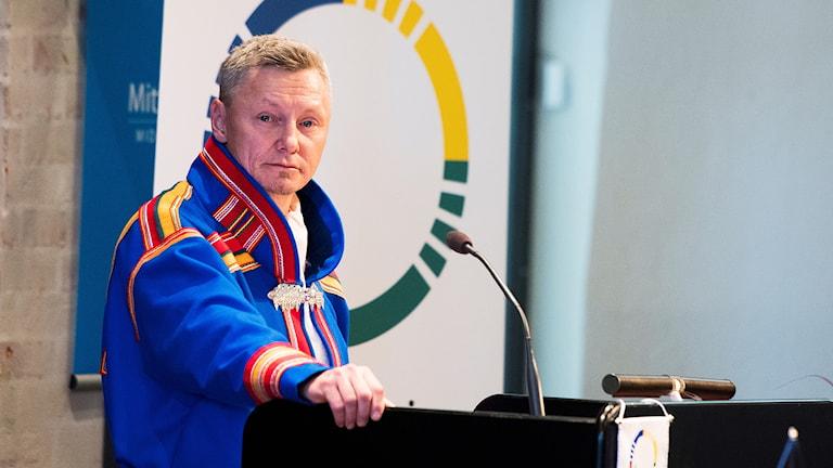 Sametingetin hallinnon puheenjohtaja Per-Olof Nutti, Sametingetin avajaisissa.