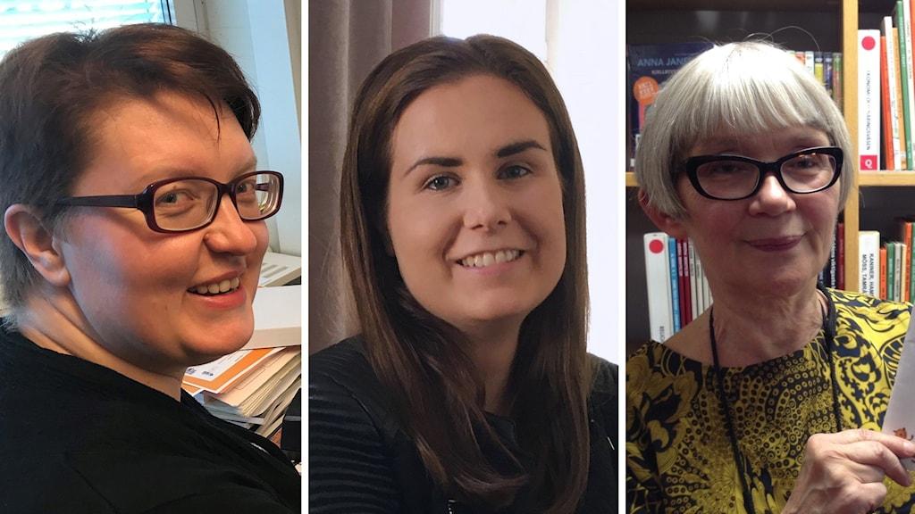 Outi Oja, Marika Pietilä ja Liisa Eklund.