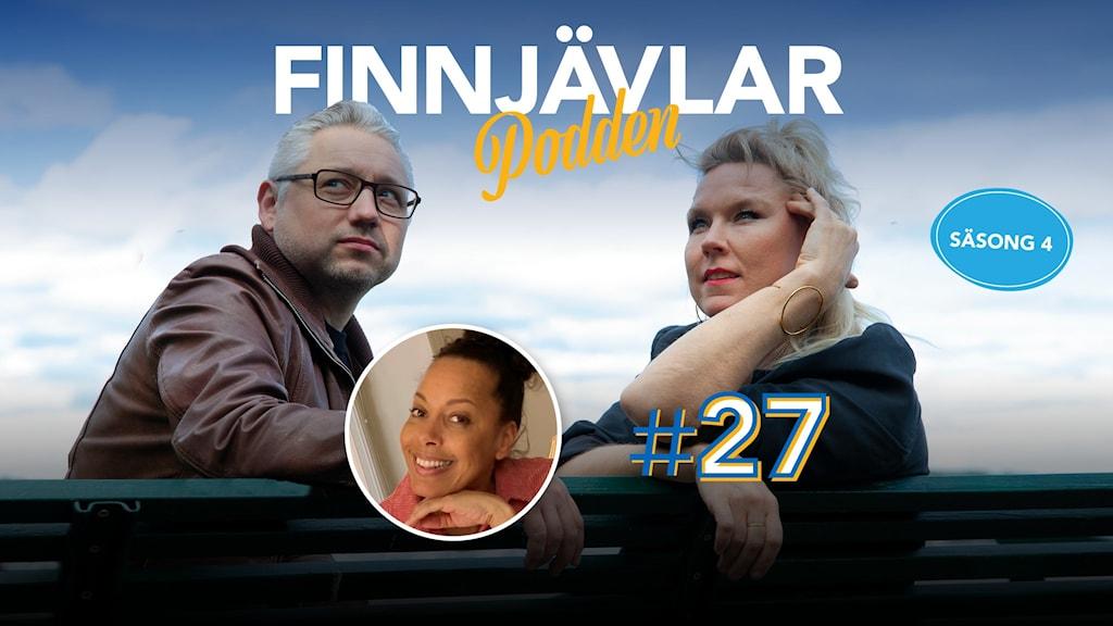 Kristian Borg och Victoria Rixer sitter på en bänk och tittar in i kameran. Infälld i en liten bild syns Pia Herrera.