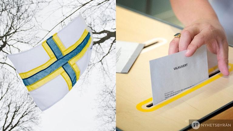 Sverigefinska flaggar och en valsedel som läggs ner i urnan.