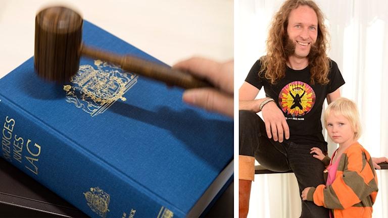 Kuvakollaasi, jossa toisella puolella Ruotsin lakikirja ja nuija, toisella puolella Daniel Särkijärvi tyttärineen.