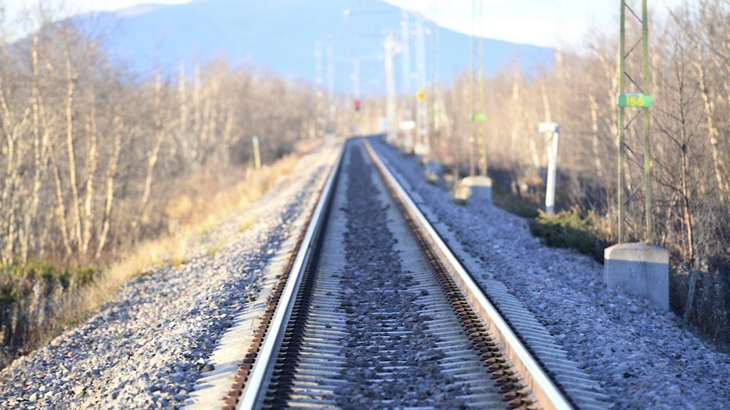 Järnvägsspår som leder rakt framåt.