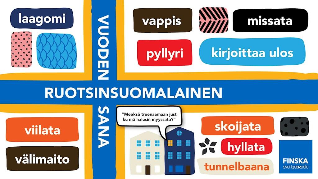 Ruotsinsuomalaisia sanoja, ruotsinsuomalaisten lipun päällä
