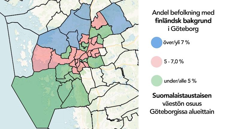 Karta: Andel befolkning med finländsk bakgrund i Göteborg