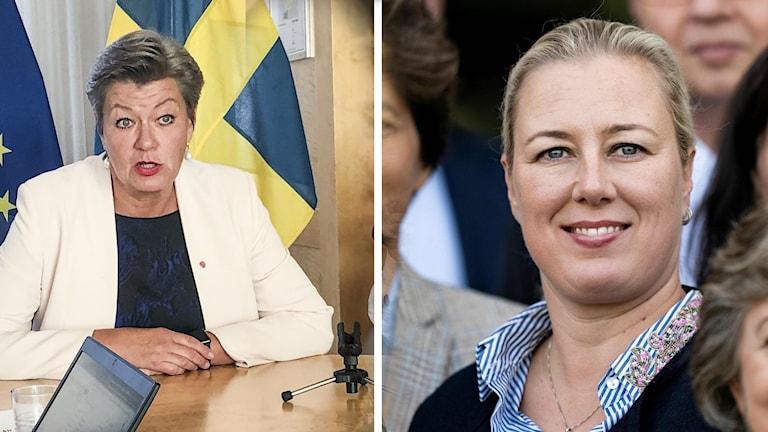 Vasemmalla EU-komissaari Ylva Johansson istuu pöydän ääressä, oikealla EU-komissaari Jutta Urpilaisen potretti.