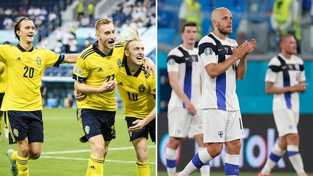 Bildsplitt, fotbollspelare svenskarna jublar, finländare tackar