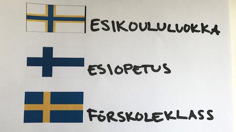 Ruosulippu, suomenlippu ja ruotsinlippu piirrettynä