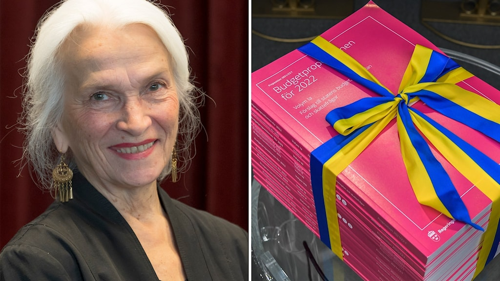 2 kuvaa: toisessa Eivor Olofsson ja toisessa pino vaaleanpunaisia syysbudjettikirjoja, joiden ympärillä sinikeltainen rusetti