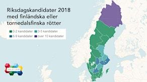 En karta över Sveriges valkretsar i olika färger