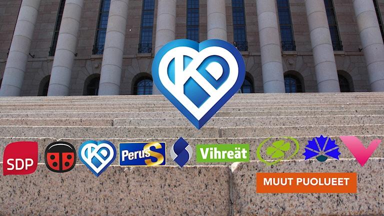 Kristillisdemokraattien logokuvasekä muiden eduskuntavaalipuolueiden logot