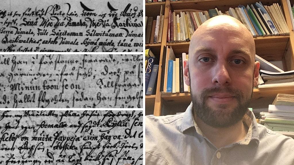 Oliver Blomqvist ja 1600-luvun asiakirjatekstiä.
