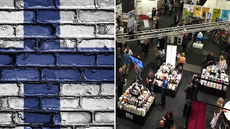 Ett vägg med en målad finsk flagga och en bild på bokmässan
