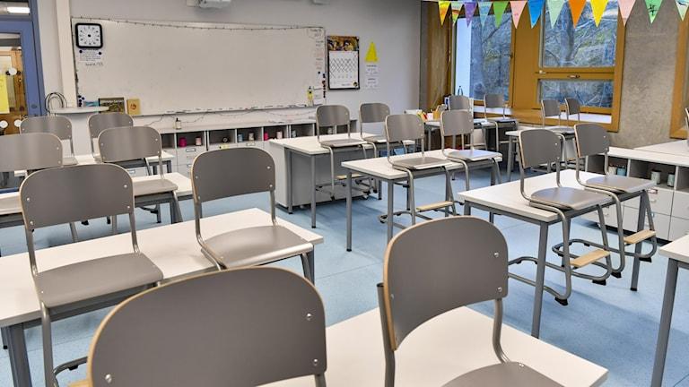 Tyhjä luokkahuone. Empty classroom.