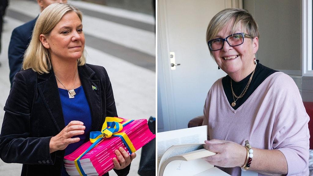 Till vänter Magdalena Andersson som går med budgetpropositionen. Till höger Sirpa Humalisto