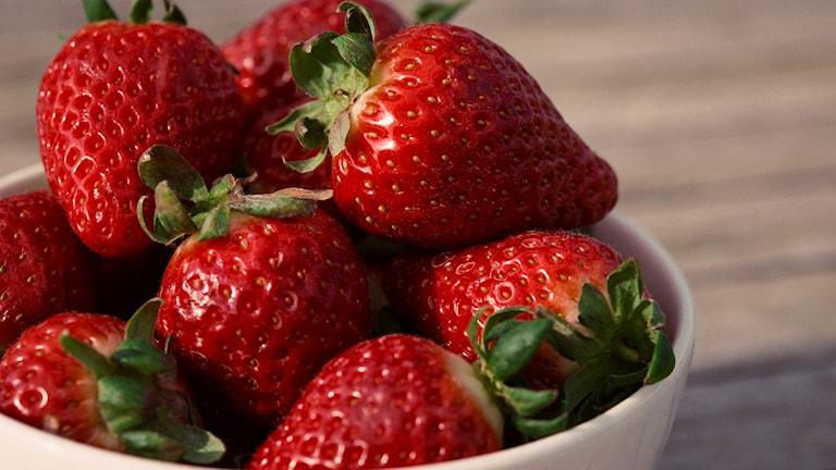 Kirkkaan punaisia mansikoita valkoisessa kulhossa.