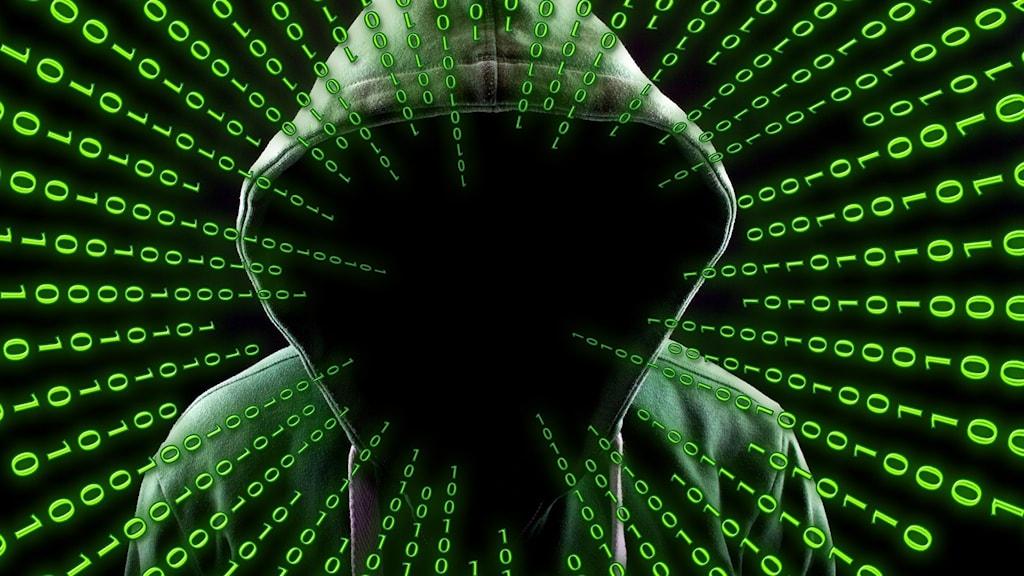 En anonym datahacker med ettor och nollor.