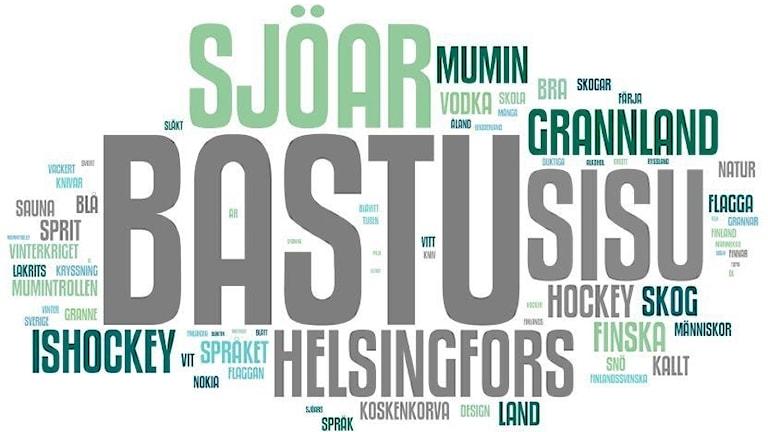 Ett ordmoln av saker som svenskar associerar med Finland, till exempel bastu, sjöar, sisu och Helsingfors.