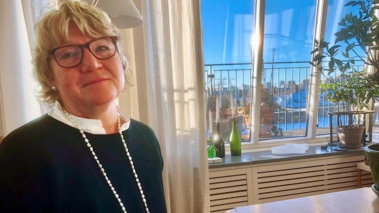 Jaana Johansson ikkunan edessä, josta näkyy Tujkholman kattonäkymä. Kuva: Timo Laine/SR Sisuradio