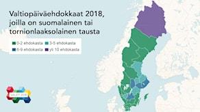 Ruotsin kartta jolla vaalipiirit eri värein