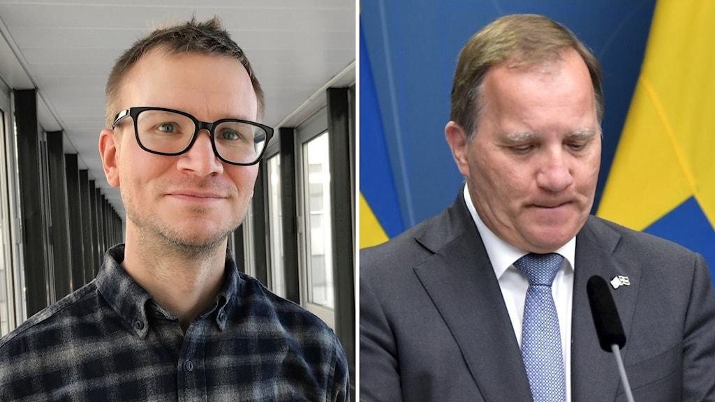 Kuva, jossa kaksi eri kuvaa littettyinä. Tutkija Jaakko Turunen mustissa silmälaseissa ja ruudullisessa paidassa.  Toisessa kuvassa Stefan Löfven katsoo alaspäin tiedotustilaisuudessa.