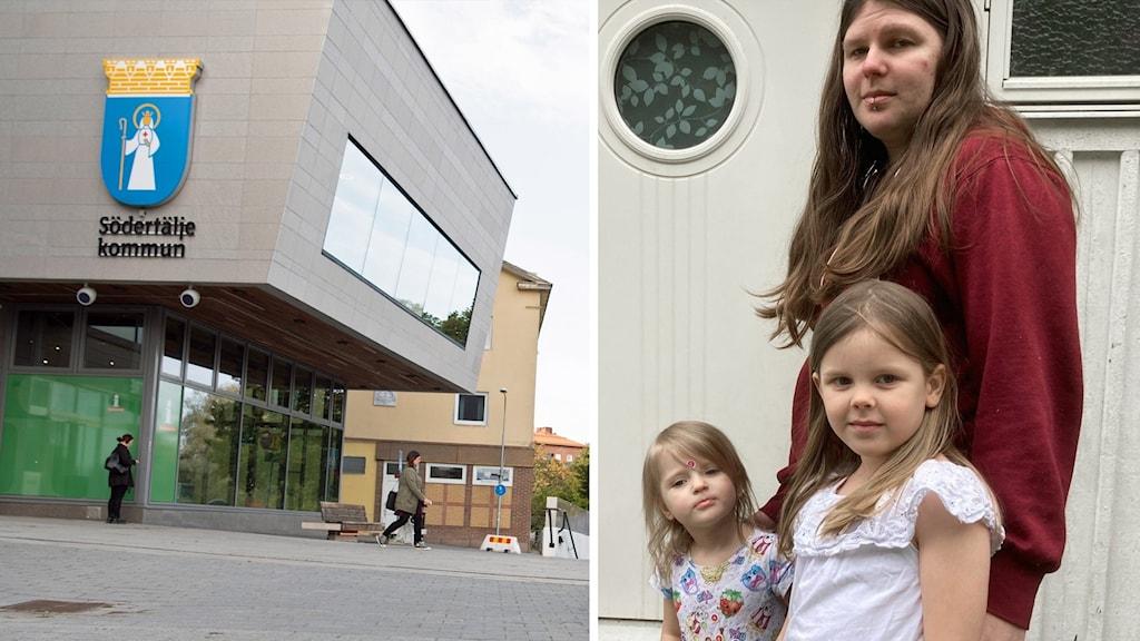 Kuvassa Söderstäljen kunnantalo ja vanhempi Jenna Laakso lapsineen.