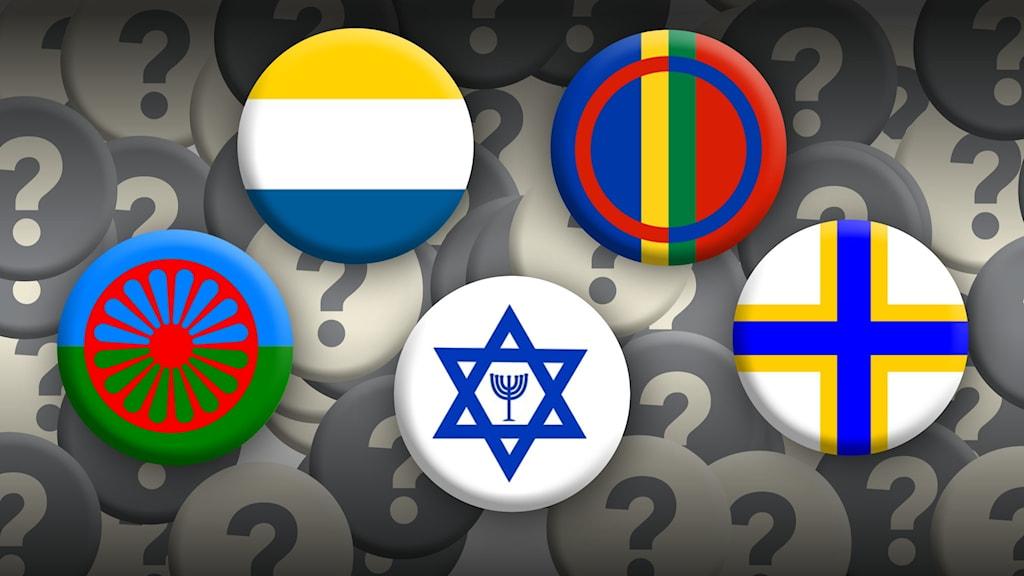 Symboler för de fem nationella minoriteterna i förgrunden. Frågetecken i bakgrunden.