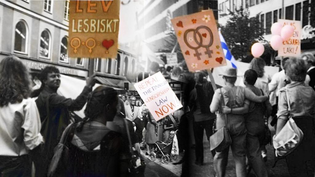 En demostration med skyltar om alla människors lika värde