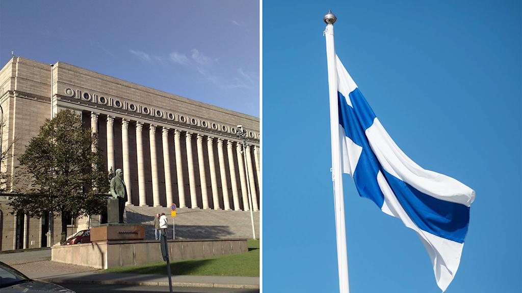Suomen eduskuntatalo ja Suomen lippu