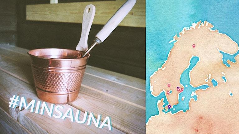 #minsauna-kuvassa löylykiulu ja -kauha lauteilla, vieressä #minsauna-kartta