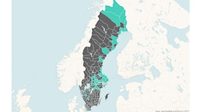 Ruotsin kartalla hallintoaluekunnat merkitty turkoosilla värillä ja loput harmaalla.