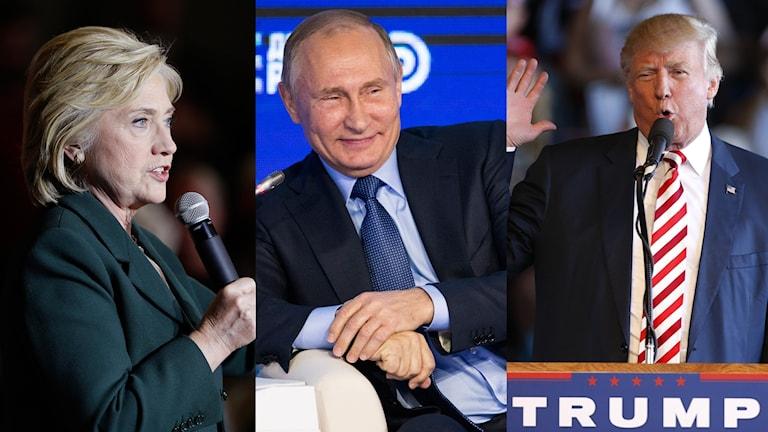 Hillary Clinton, Vladimir Putin och Donald Trump