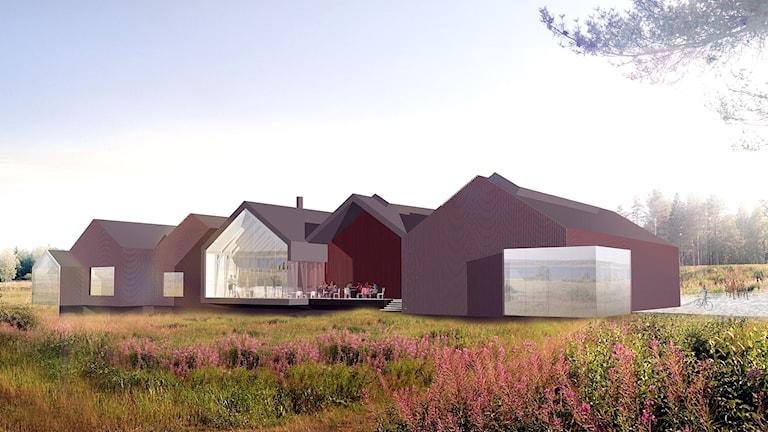 Arkkitehtitoimiston havainnekuva tulevasta taidehallista.