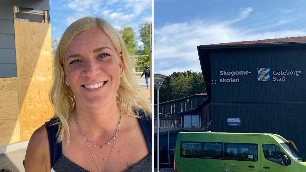 Till vänter läraren Mari Niemelä och till höger en bild på Skogomeskolans fasad.