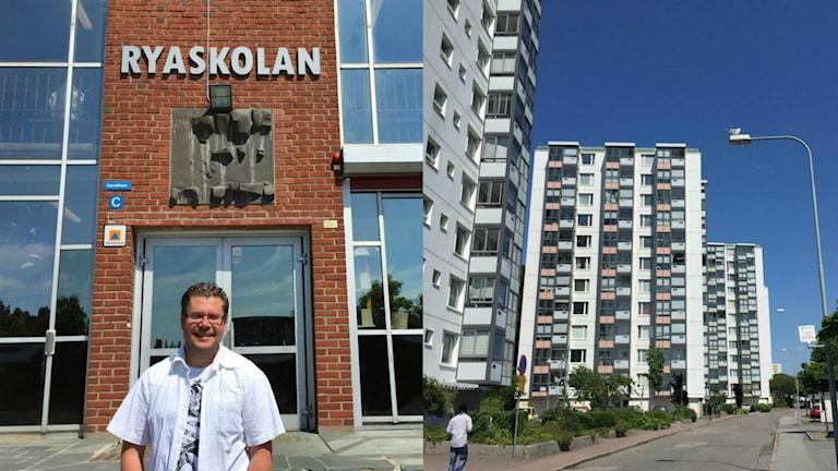 Juha Illman seisoo Ryaskolan sisäänkäynnin luona aurinkoisena päivänä.