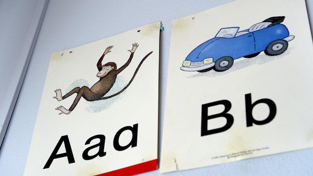 alfabet skyltar