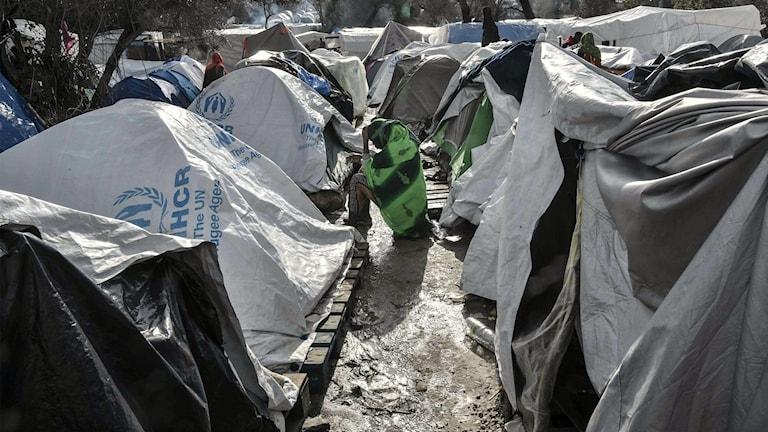 Pakolaisleiri Kreikassa.