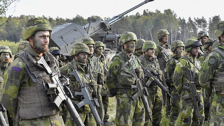 Ruotsin maavoimien miehistöä rivissä.