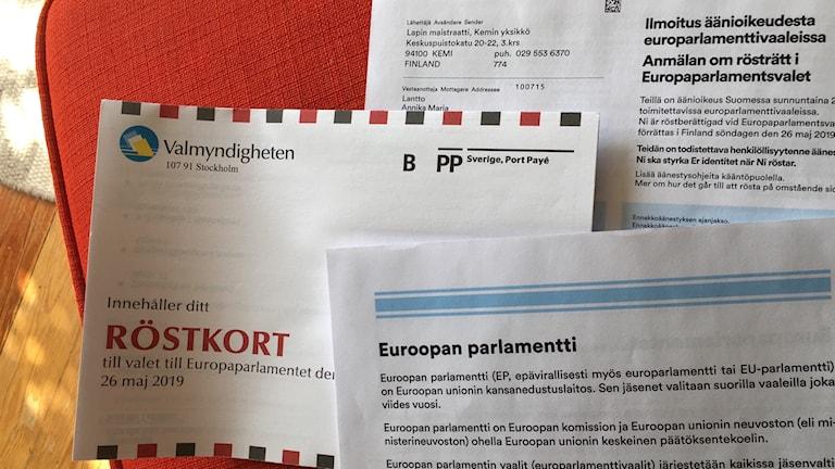 Äänestyskortteja europarlamenttivaaleihin 2019