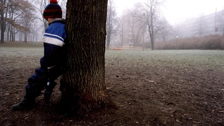 Ett barn på en dimmig gård