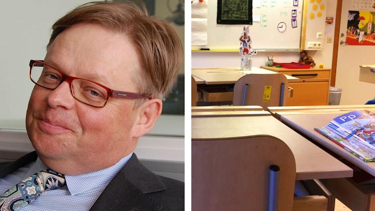 Kuvapari: Juhana Vartiainen ja luokkahuone