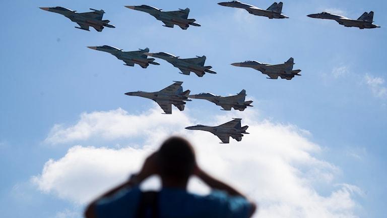 Venäjän Zapad -sotaharjoituksessa käytettäviä lentokoneita.