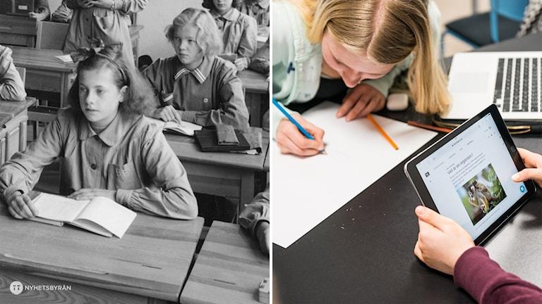 Koululaisia 1940-luvulla ja vuonna 2019.