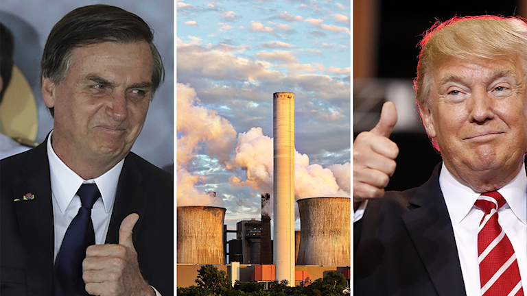 Jair Bolsonaro ja Donald Trump näyttävät peukkua ydinvoimalalle.